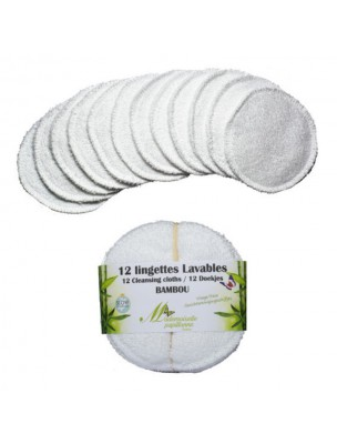 Lingettes Visage - Eponge de Bambou 12 lingettes lavables - Mademoiselle...