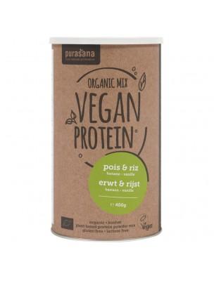 Vegan Protein Mix Bio - Protéines Végétales Pois et Riz  Banane Vanille 400 g...