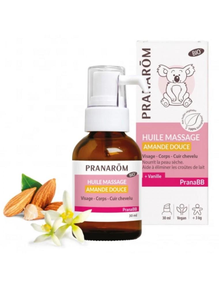Pranabb Amande douce Huile de massage Bio - Nourrit et adoucit la peau de bébé 30 ml - Pranarôm