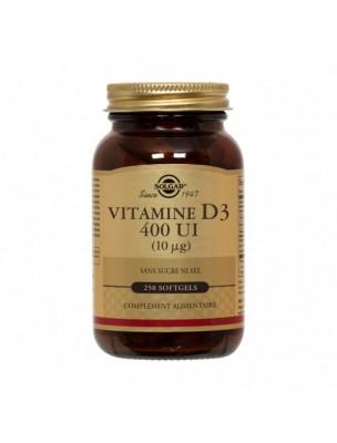 Vitamine D3 400 UI - Os et défenses immunitaires 250 softgels - Solgar