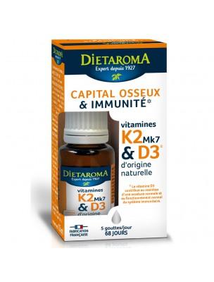 Vitamines K2 Mk7 et D3 - Capital osseux et Immunité 15 ml - Dietaroma