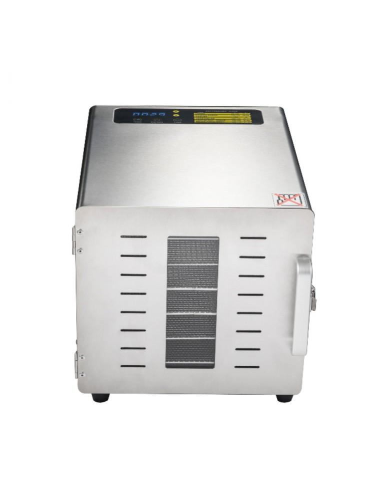 Déshydrateur Inox 500 W 6 grilles 29x29 cm à commande digitale