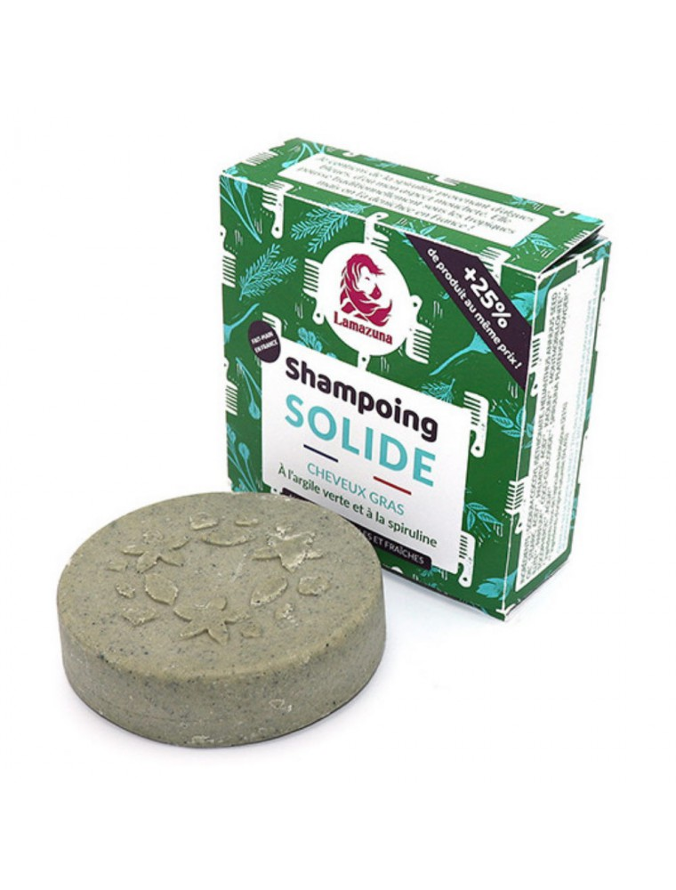 Shampoing solide pour cheveux gras Vegan - Spiruline et Argile verte 70ml - Lamazuna