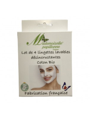 Lingettes Désincrustantes - Coton Bio 4 lingettes lavables - Mademoiselle Papillonne