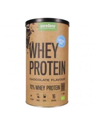 Whey Protein Sans Lactose Bio - Protéines de Petit Lait Chocolat 400 g - Purasana