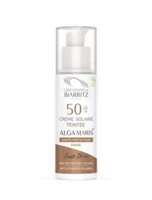 Crème Solaire Visage Teintée SPF50 Bio - Dorée 50 ml - Les Laboratoires de Biarritz