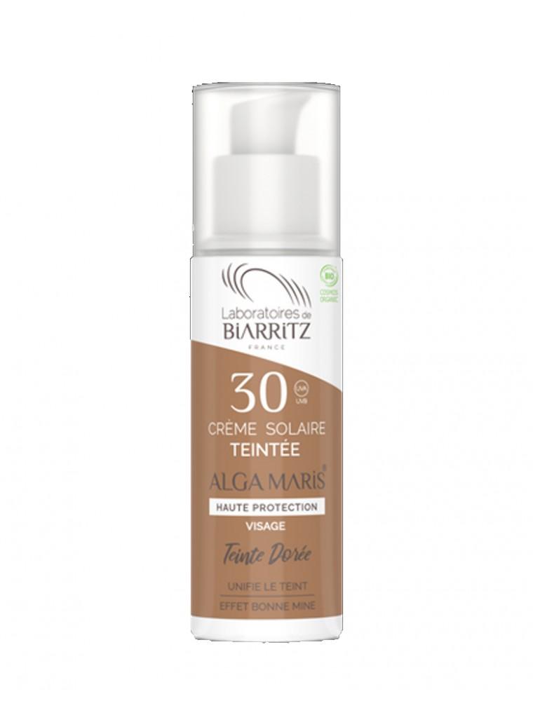 Crème Solaire Visage Teintée SPF30 Bio - Dorée 50 ml - Les Laboratoires de Biarritz