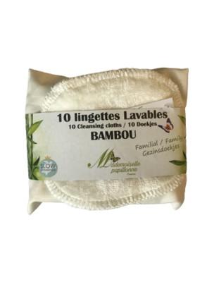 Lingettes Familiales - Eponge de Bambou 10 lingettes lavables - Mademoiselle Papillonne