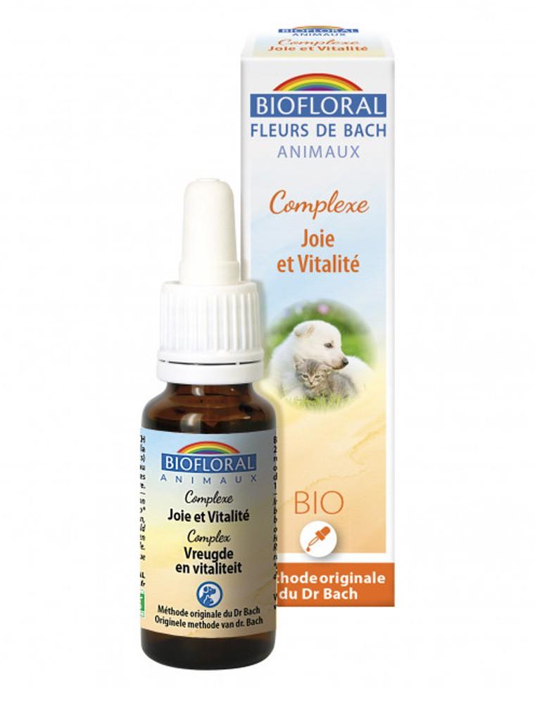 Complexe Joie et Vitalité Bio - Fleurs de Bach pour Animaux 20 ml - Biofloral