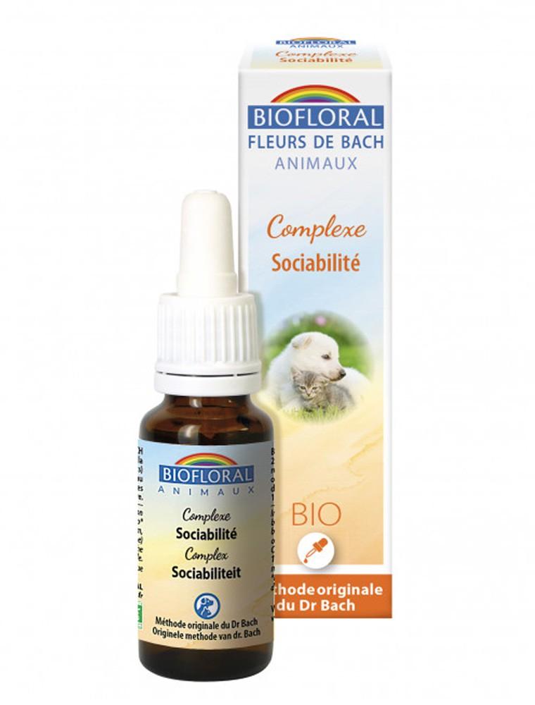 Complexe Sociabilité Bio - Fleurs de Bach pour Animaux 20 ml - Biofloral