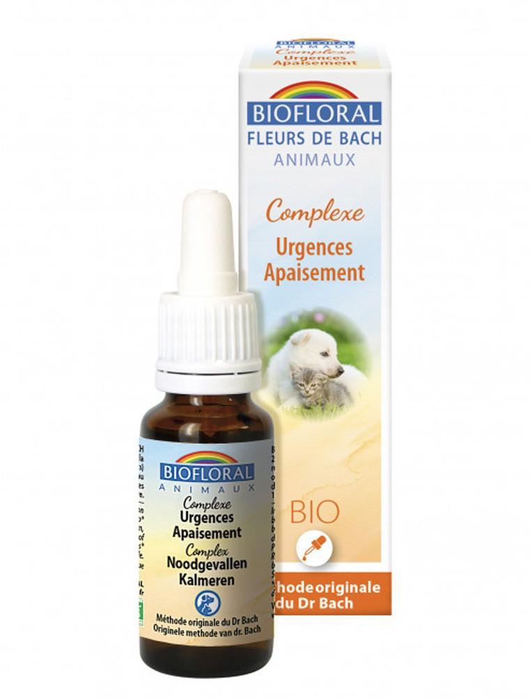 Complexe Urgences-Apaisement Bio - Fleurs de Bach pour Animaux 20 ml - Biofloral
