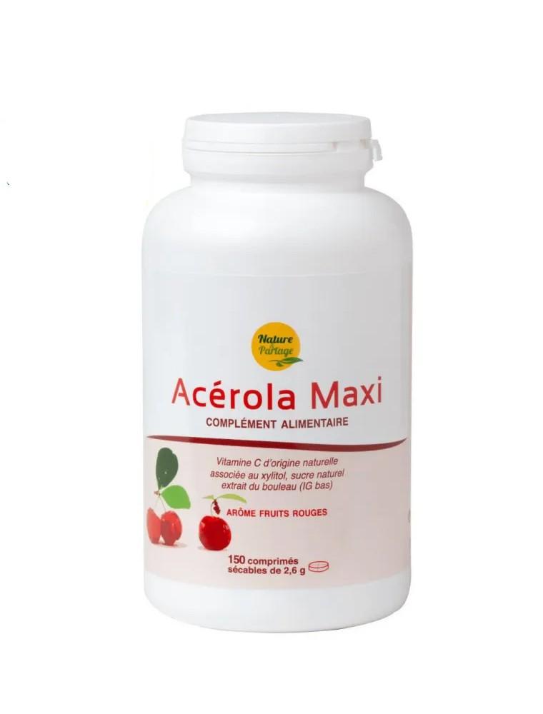 Acérola Maxi - Vitamine C naturelle 150 comprimés - Nature et Partage