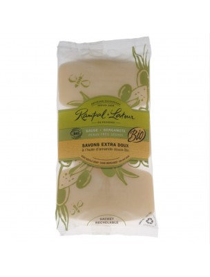 Savons Extra-Doux Sauge Bergamote Bio - Peaux Très Sèches 3x150 g - Rampal Latour