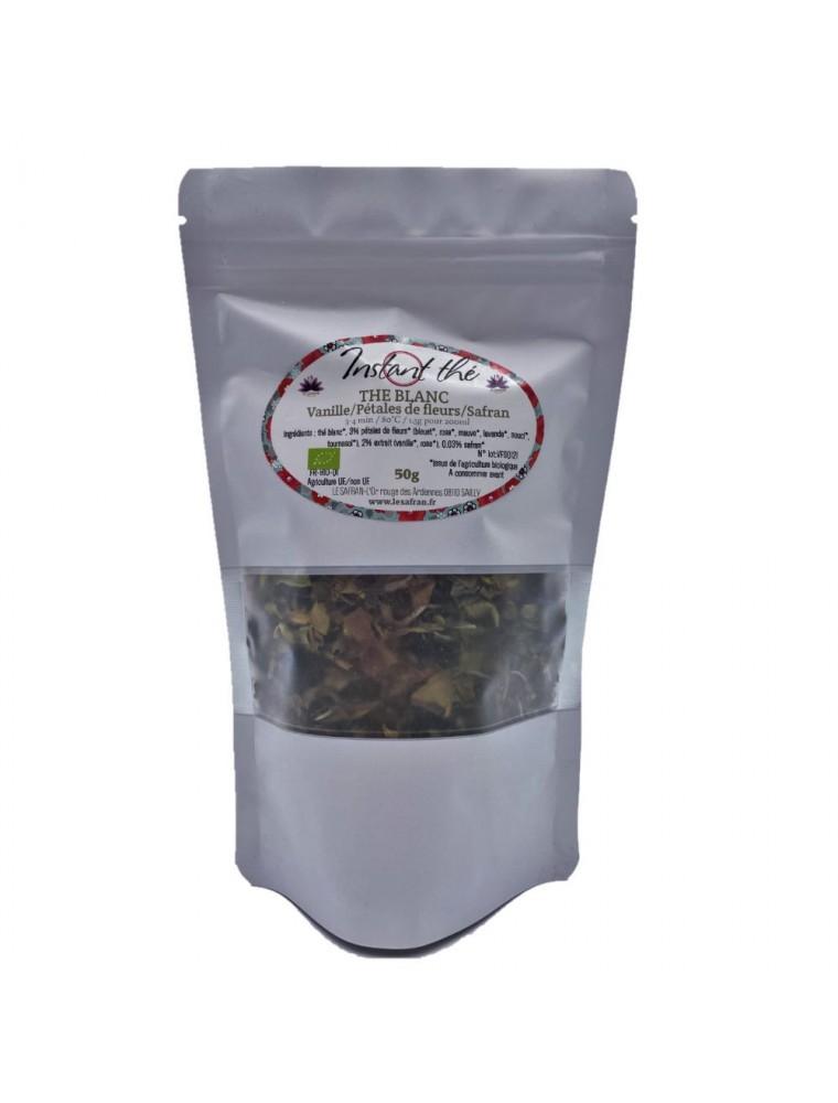Thé Vanille-Pétales-de-fleurs-Safran Bio - Thé blanc ardennais 50 grammes - Le Safran
