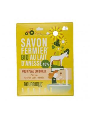 Savon Citron, Citron vert et Ortie au lait d'ânesse Bio - Peaux grasses 100g - Paysane