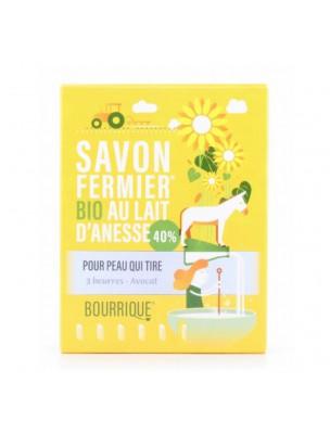 Savon 3 Beurres et Avocat au lait d'ânesse Bio - Peaux très sèches 100g - Paysane