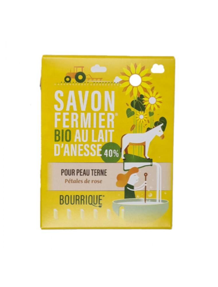 Savon Pétales de Rose au lait d'ânesse Bio - Peaux ternes 100g - Paysane