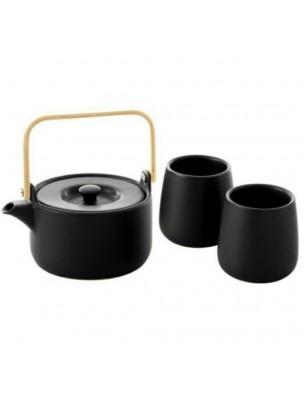 Théière en Faïence Noire 500ml avec 2 mugs