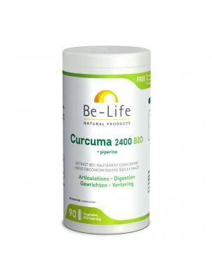 Curcuma et Poivre noir 2400 Bio - Articulations et Digestion 90 gélules - Be-Life
