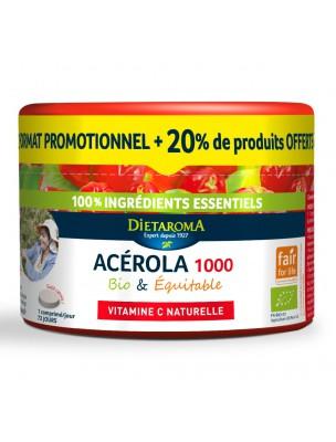 Image de Acérola 1000 Bio - Pilulier Réduction de la fatigue 60 comprimés + 20% offert - Dietaroma depuis Une santé quotidienne naturelle