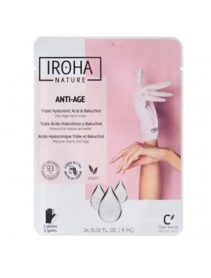 Masque Gants Mains Anti-Age - Acide Hyaluronique Triple et Bakuchiol 2 Gants - Iroha Nature