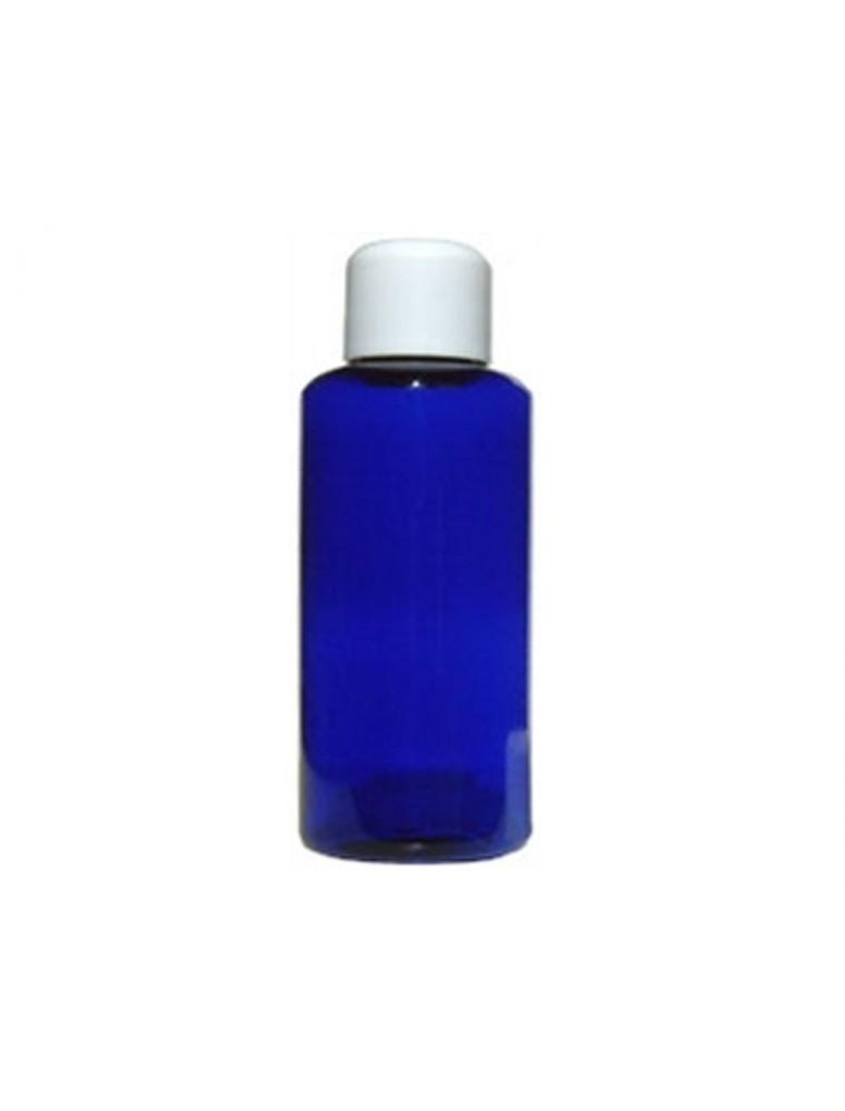 Flacon en PET bleu de 200 ml avec son bouchon à clapet blanc