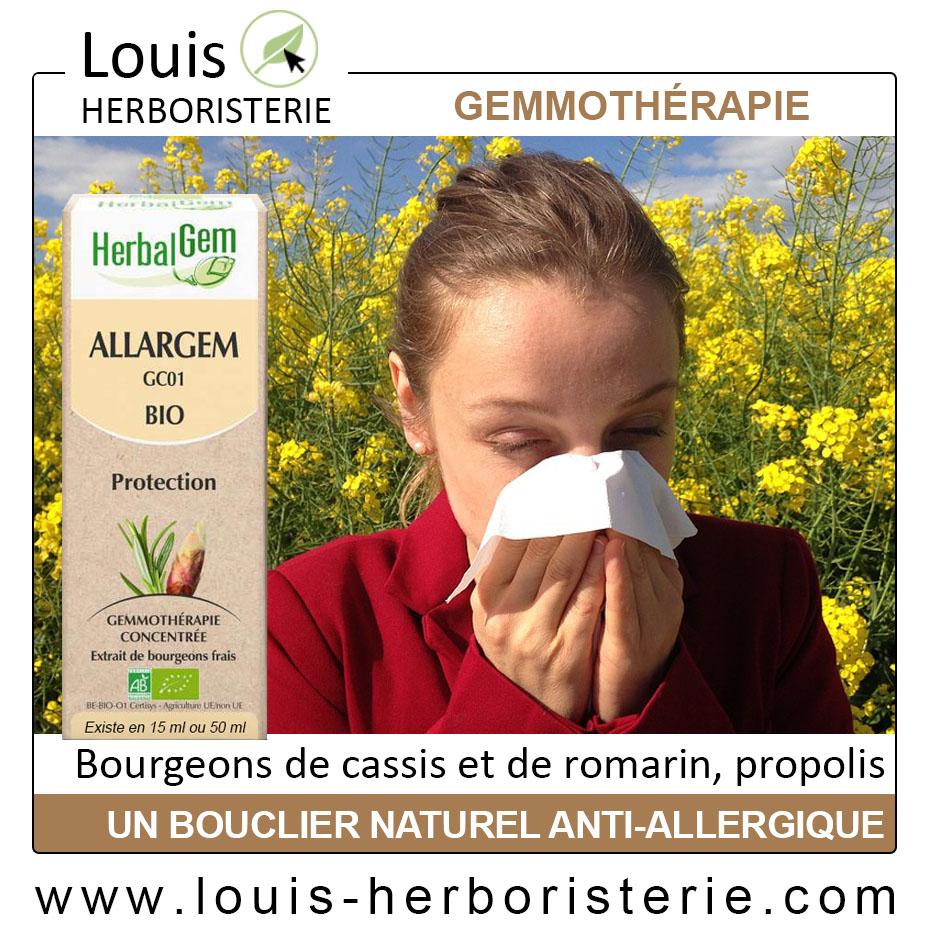 Allargem GC 01 du laboratoire Herbalgem est une synergie de gemmothérapie utile en cas d'allergie et disponible à l'herboristerie Louis