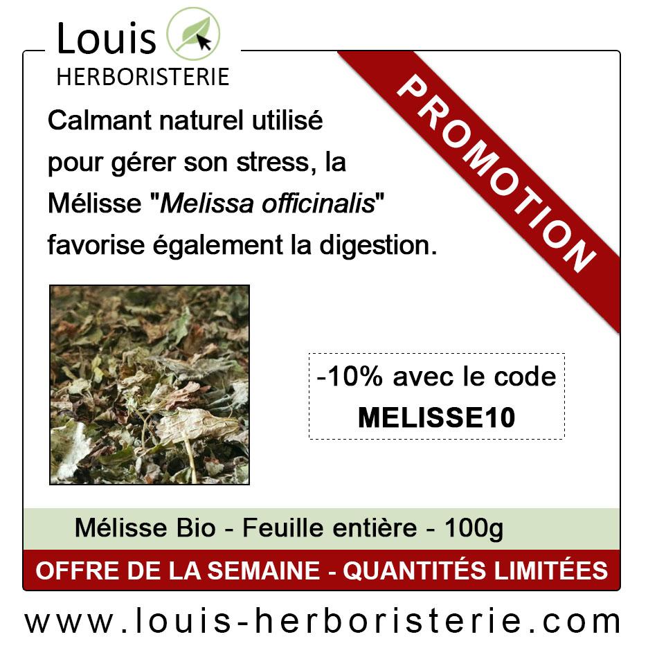La feuille de mélisse est disponible à petit prix à l'herboristerie Louis, afin de faciliter votre digestion et de diminuer votre stress