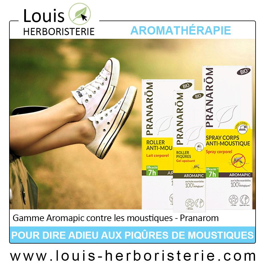 La gamme Aromapic de Pranarôm, efficace contre les moustiques, est disponible à l'herboristerie Louis