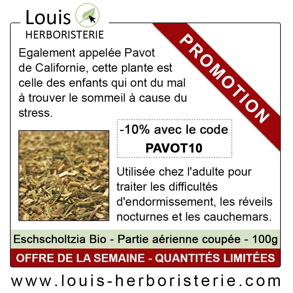Le Pavot de Californie est disponible à petit prix à l'herboristerie Louis, afin de faciliter votre sommeil et de diminuer votre stress