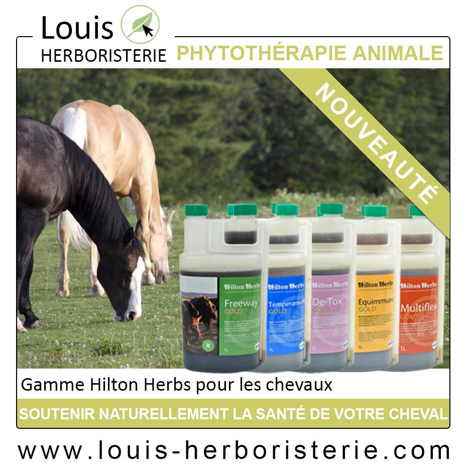 les compléments pour chevaux d'Hilton Herbs, pour soulager les articulations ou la digestion, sont disponibles à l'herboristerie Louis en flacon de 100 ml, plus économique.