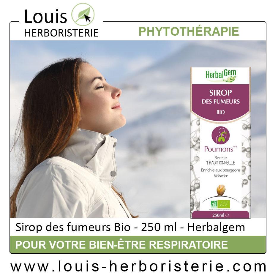Le sirop des fumeurs, conseillé aux fumeurs pour améliorer leur bien-être respiratoire, est disponible à l'herboristerie Louis