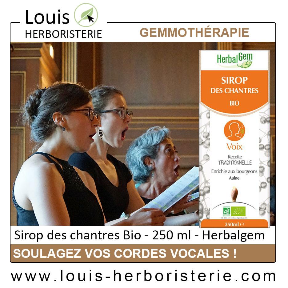 Le Sirop des Chantres du laboratoire Herbalgem est une synergie de gemmothérapie et de plantes utiles en cas d'extinction de voix et pour adoucir ses cordes vocales et disponible à l'herboristerie Louis