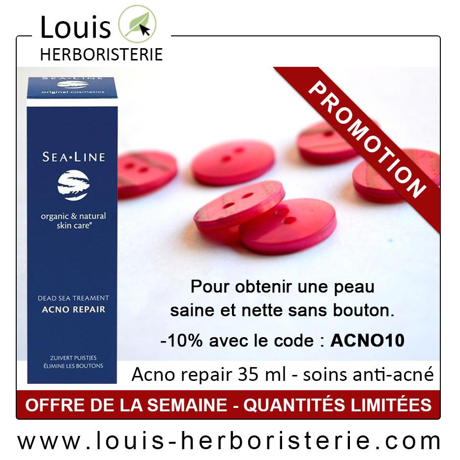 Le soin Acno repair au sel de la mer morte contre l'acné et les cicatrices est disponible à l'herboristerie Louis