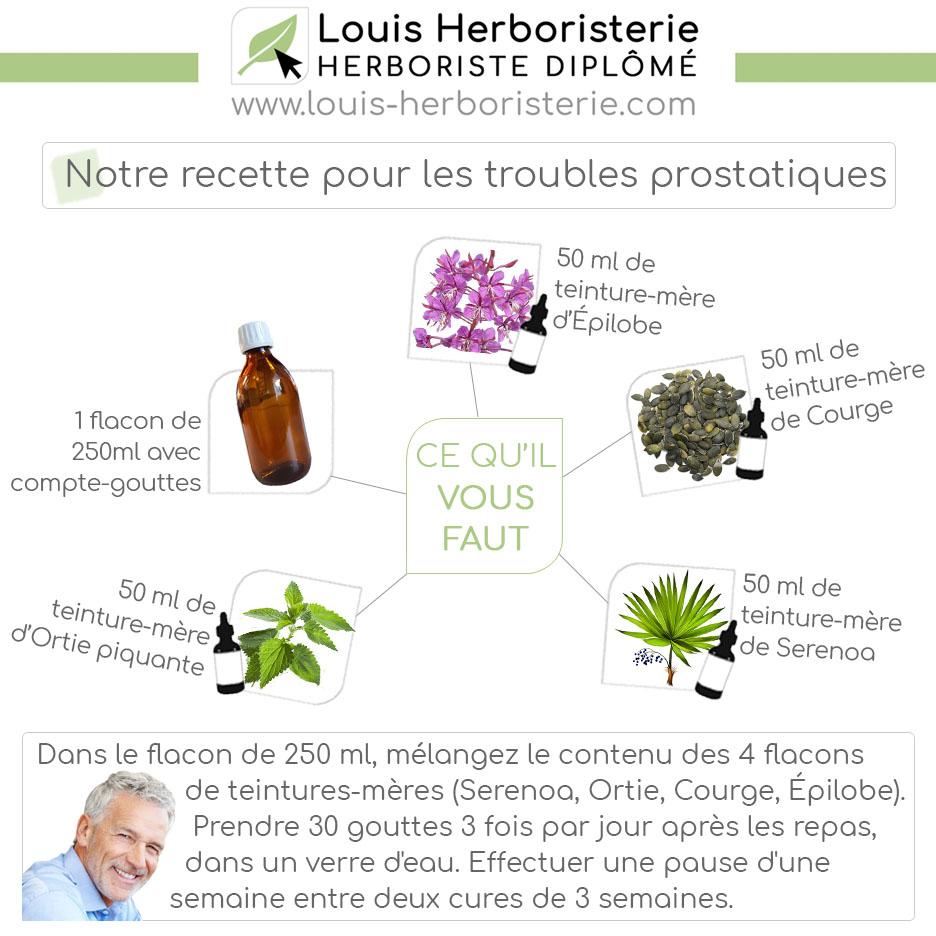 Réalisez vous-même cette recette associant des plantes réputées en cas de troubles prostatiques.