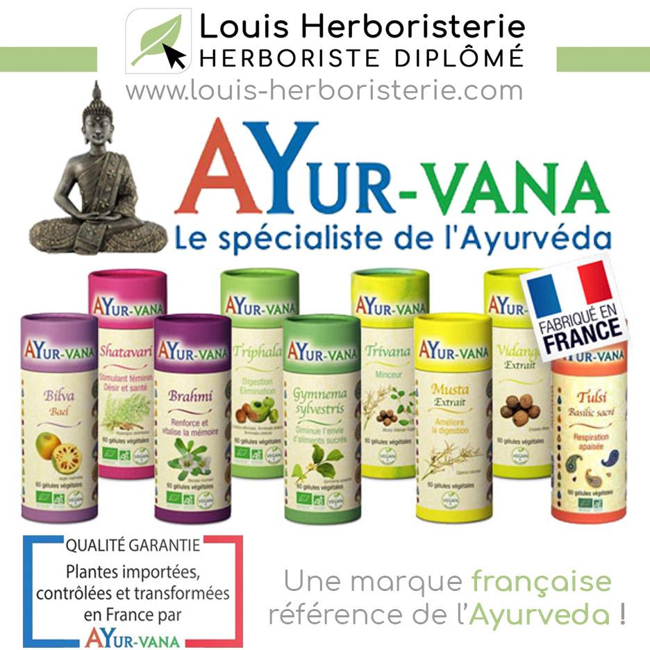 La gamme Ayurvéda de Ayur-vana disponible à l'herboristerie Louis