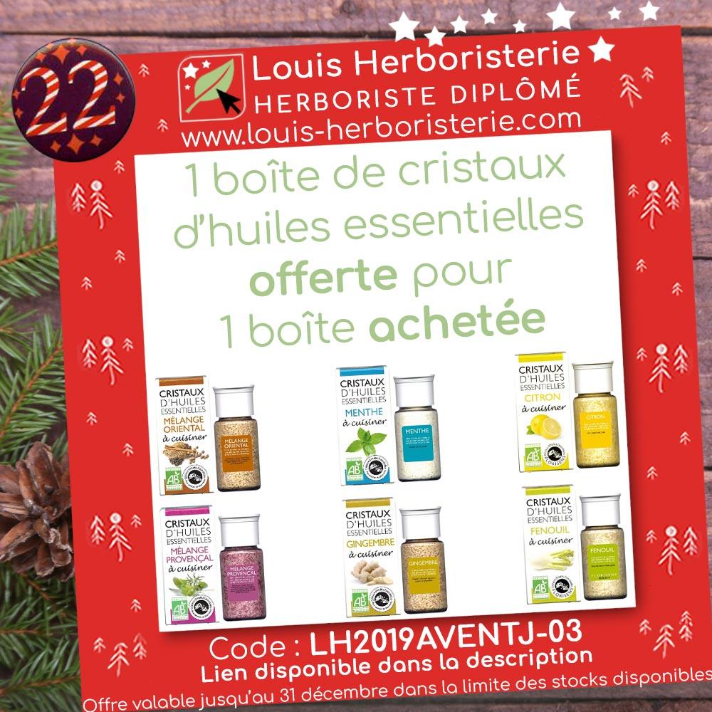 Offre du calendrier de l'avent 2019 de l'herboristerie Louis