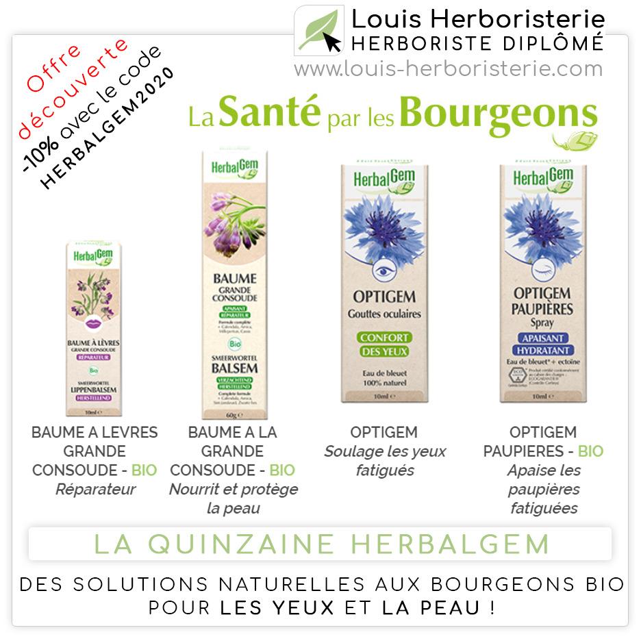 La cosmétique pour les yeux et la peau aux bourgeons Bio de Herbalgem
